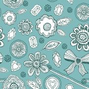 Seamless pattern with blue lace, diamonds, flowers, leaves. Stock Illustration