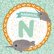 ABC animals N is narwhal. Childrens english alphabet. Stock Illustration