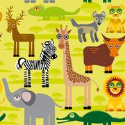 Seamless pattern background with African animals. Piirros