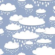 Seamless pattern with white clouds and raindrops on a blue background Stock Illustration