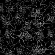 White orchid flowers on black background seamless pattern. Stock Illustration