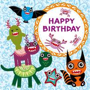 Funny monsters party card design. Stock Illustration