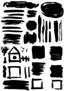 Grunge set of paint stains. grungy decoration effects. Stock Illustration