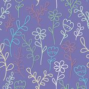 Seamless pattern with flowers and branches. Lilac background. - stock illustration