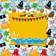 Vintage scrap nautical card with frame, anchor and pattern with sea animals,  Stock Illustration