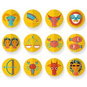 Flat design modern orange zodiac sign set. Isolated on white background - stock illustration