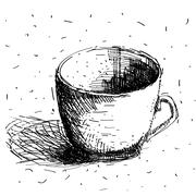 Scribble coffee cup isolated on white background. Hand drawing sketch Stock Illustration