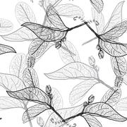 Leaves contours on a white background. floral seamless pattern Stock Illustration