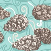 Seamless pattern with Pine cones and frosty patterns. Brown and blue. Sketch. Stock Illustration