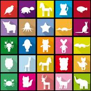 Set silhouettes of animals seamless pattern in Trendy Flat Style Stock Illustration