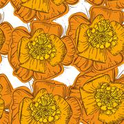 Stock Illustration of Abstract Elegance Seamless pattern orange flowers with brown contour on white