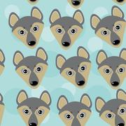 Dog Wolf Seamless pattern with funny cute animal face on a blue  background Piirros