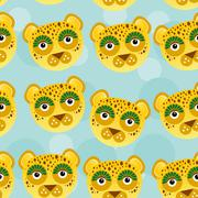 Leopard Seamless pattern with funny cute animal face on a blue background - stock illustration