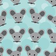 Mouse Seamless pattern with funny cute animal face on a blue  background Stock Illustration