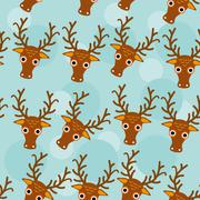 Deer Seamless pattern with funny cute animal face on a blue background Piirros