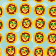Lion Seamless pattern with funny cute animal face on a blue background Piirros