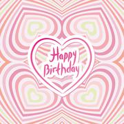 Happy Birthday Card. Pink abstract background. Optical illusion of 3D three-d Stock Illustration