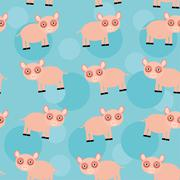 Seamless pattern with funny cute animal pig on a blue background Piirros