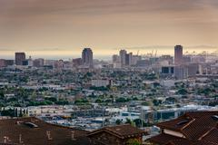 View of the Long Beach skyline from Hilltop Park, in Signal Hill, Long Beach, Stock Photos