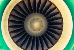 Jet Engine Turbine Closeup Photo. Jet Engine Aviation Technology. - stock photo