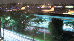 Sao Paulo airport. Congonhas CGH, Brazil. Time lapse. Airplanes, traffic - stock footage