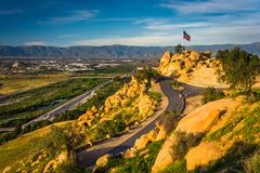 View of trails and an American flag at Mount Rubidoux Park, in Riverside, Cal - stock photo