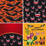 Happy Halloween set of two seamless patterns and two cards. Bats Piirros
