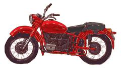Doodle sketch red vintage motorcycle on a white background. - stock illustration