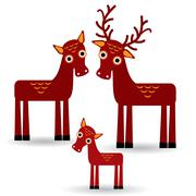 Deer and fawn. Set of funny animals with cubs on white background. Piirros
