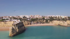 Aerial from the church  Senhora da Rocha in Armacao de Pera, Algarve, Portugal. Stock Footage