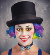 Smiling clown and colorful Stock Photos