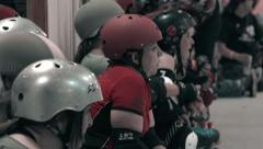Roller Derby Team Bench Shot Stock Footage