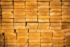 Stack of Wood Studs Profile View. Planks Pile. Timber Stock. Stock Photos