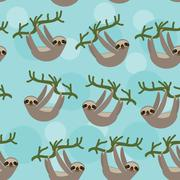 Seamless pattern Three-toed sloth on green branch on blue background. Stock Illustration