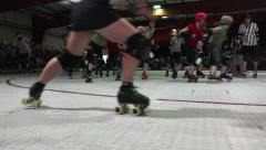Shady Start of A Roller Derby Contest Stock Footage