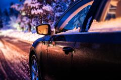 Winter Night Drive - stock photo
