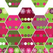 Festive seamless pattern hexagon and Christmas snowflakes. Pink, purple, gree - stock illustration