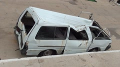Destroyed minibus top view 2 Stock Footage