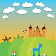 Card. landscape with castle wizard, Cartoon Dragon, Unicorn, bats. Stock Illustration