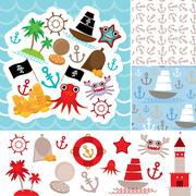 Vintage scrap nautical card and seamless pattern with sea animals, boats pira - stock illustration