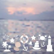 Set sea icons on seascape background. - stock illustration