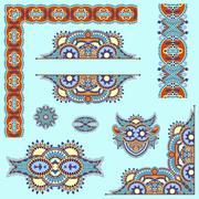 Set of paisley floral design elements for page decoration Stock Illustration