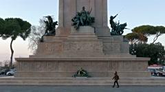 Monument to Garibaldi. Evening. Piazza Garibaldi, Rome, Italy. 4K Stock Footage