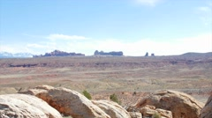 A viewpoint in beautiful Arches National Park panning Stock Footage