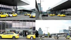 4K montage (compilation) - Airport Prague - people outside the airport - stock footage