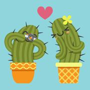 Loving couple of cactus taking a pictures Stock Illustration