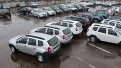 Many new cars on parking lot Stock Footage