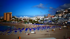 Stock Video Footage of 4K UHD Los Cristianos Beach n Town Tenerife Canary islands Spain