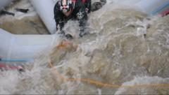 Rescue of an stuck rafter. Captured in Bulgaria, Kresna Gorge. Editorial use. Stock Footage