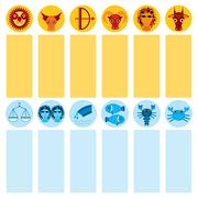 Funny blue and orange zodiac sign icon set astrological, Stock Illustration